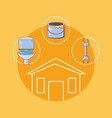 house building with home repair icons vector image vector image
