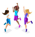 isometric of a girl friend fitness jumping runni vector image vector image