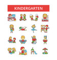 kindergarten thin line icons linear vector image