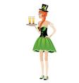 Leprechaun girl with beer2 vector image vector image