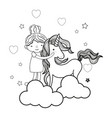 line happy girl hugging cute unicorn vector image vector image
