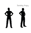 man in Standing Angry pose on white background vector image vector image