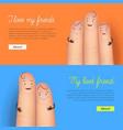 my best friend finger card set vector image vector image