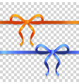 orange and blue narrow ribbons with bright bows vector image vector image