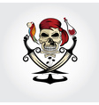 pirate skull with parrotrumanchor and palms vector image vector image