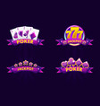 purple jackpot and poker emblem icons for lottery vector image vector image