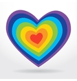 Rainbow striped heart on white background vector image vector image