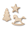 realistic wooden christmas tree toys decor vector image