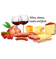 Red wine with meats and cheese vector image vector image