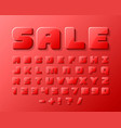 sale font 3d on the red background vector image