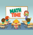 scene with math teacher teaching in classroom vector image