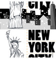 seamless background with buildings and statue of vector image vector image