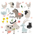 set of cute farm animals vector image vector image
