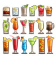 set of tropical cocktails vector image vector image