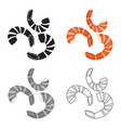 shrimp icon in cartoon style isolated on white vector image vector image