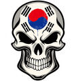South Korea flag painted on a skull vector image vector image