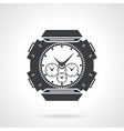 Sports wrist watch black icon vector image