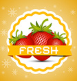 Strawberry Fresh Strawberries Retro Label vector image