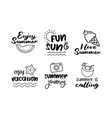 summer labels set retro hand drawn elements vector image