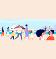 summer seafront young female seaside vacation vector image vector image