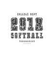 typographic emblem of softball team vector image vector image