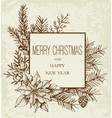 vintage christmas greeting card with evergreen vector image vector image