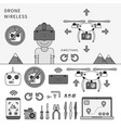 wireless drone devices line monochrome vector image vector image