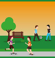young men playing with ball soccer and couple vector image vector image