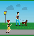 cartoon man walking with their dog in the park and vector image
