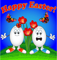 Easter eggs cartoon with flowers vector image