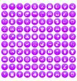 100 nursery icons set purple vector image vector image