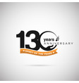 130 years anniversary logo with ribbon and hand vector image vector image