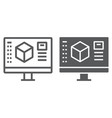 3d design line and glyph icon model and computer