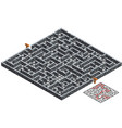 3d maze isometric labyrinth with stone walls game vector image