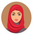 arab muslim woman in red hijab vector image vector image