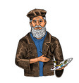 bearded creative man on a white background vector image vector image