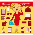 Business woman infographic set vector image