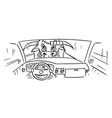 cartoon car dashboard and drivers hands on vector image