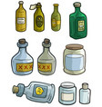 cartoon colorful different glass bottles set vector image vector image