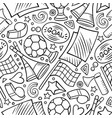 cartoon hand-drawn soccer seamless pattern vector image vector image
