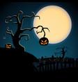 cartoon scary happy halloween template vector image vector image