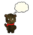 cartoon waving black bear cub with thought bubble vector image vector image