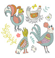 Chicken and rooster cartoon vector image vector image