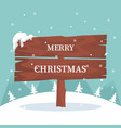christmas card with wooden sign in the snow vector image vector image