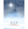 Christmas Winter Castle Moonlight Sky vector image