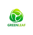 circle green leaf botany logo vector image