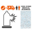 condom damage icon with 1300 medical business vector image vector image