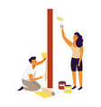 couple does repairs at home and change wallpapers vector image vector image