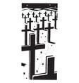 cross headstones in graveyard vintage vector image vector image