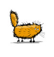 cute fluffy cat sketch for your design vector image vector image